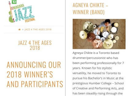 Winner of Niagara Jazz Festival's 'Jazz For The Ages'